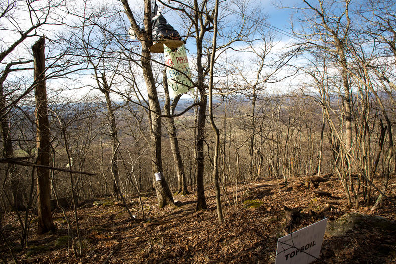 The tree sitters with their treetop perch are nearly level with the ridge top. They sit near the site where boring will be used to cross underneath the Appalachian National Scenic Trail. A notice from Mountain Valley Pipeline is taped to the tree trunk.