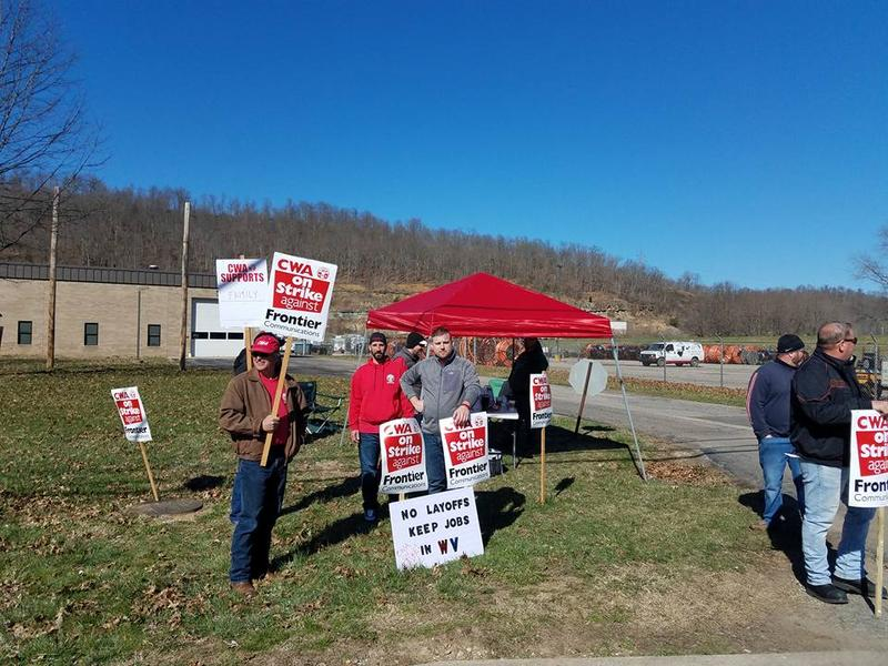 Frontier Communications workers on strike in West Virginia.
