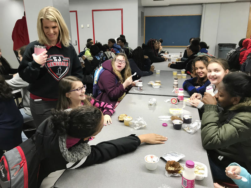 Students have breakfast at Stonewall Jackson Middle School on Wednesday, March 7, 2018, in Charleston, W.Va.