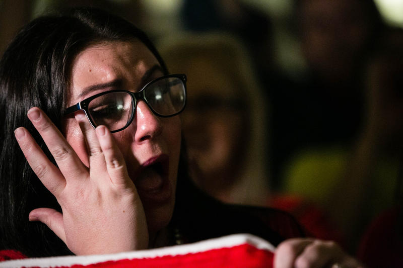 Teacher sheds tears of happiness at Capitol as vote is announced.