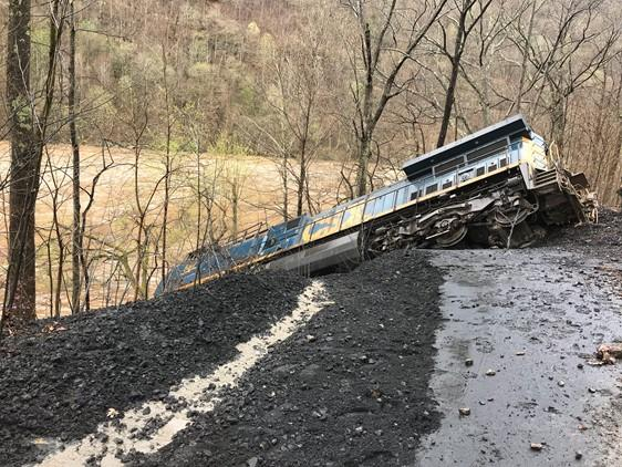 CSX train derailment, April 16, 2018, Fayette County.