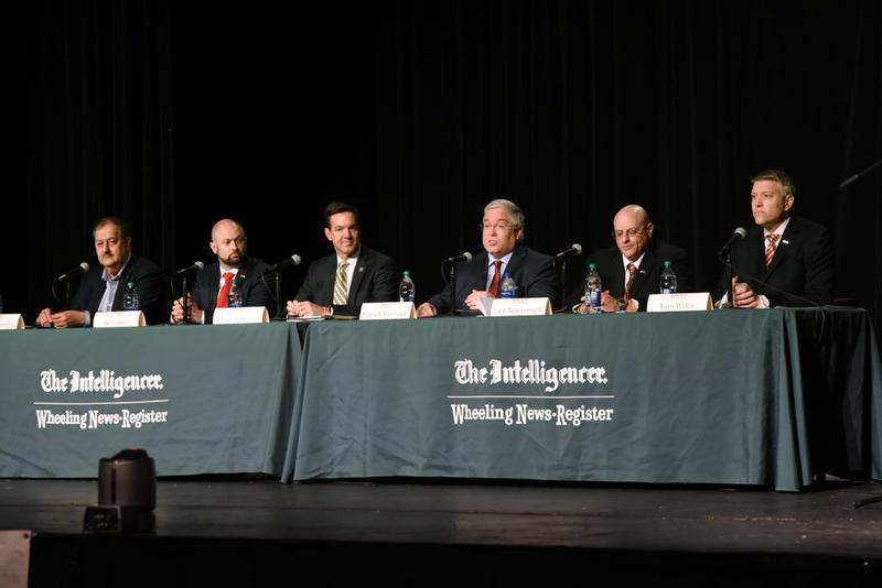 GOP U.S. Senate candidates, from left, Don Blankenship, Bo Copley, Evan Jenkins, Patrick Morrisey, Jack Newbrough and Tom Willis debate Monday at Wheeling Jesuit University.