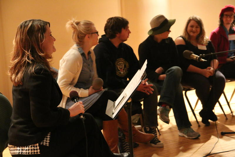Panelists speak with Jessica Lilly on stage during an Inside Appalachia live event at the 2017 Appalachian Studies Association Conference