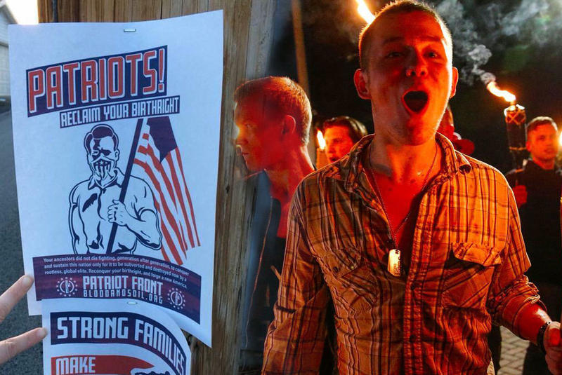This photo illustration depicts flyers posted in Fairmont (left) and members of white supremacist groups on the alt-right at a tiki torch rally in Charlottesville, Va. in August 2017.