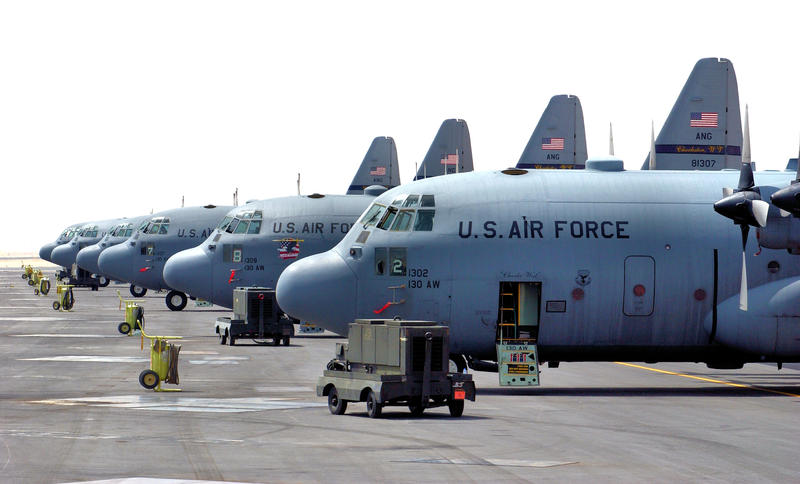 C-130 Hercules airplanes at Yeager Airport in Charleston, WV. 130th Airlift Wing.