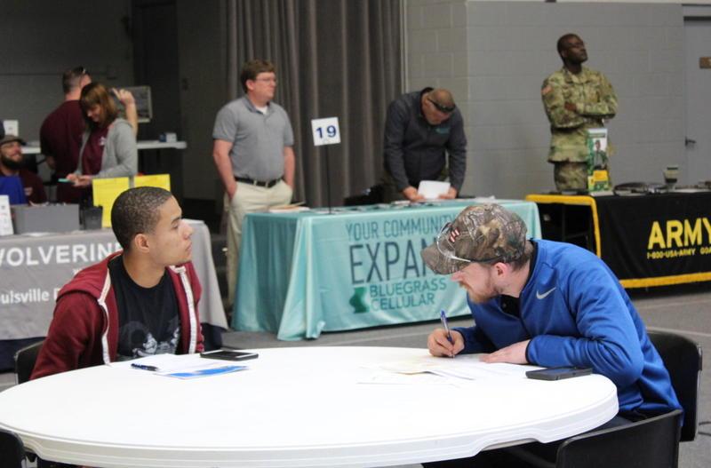 Brady Carwile (right) at a job fair