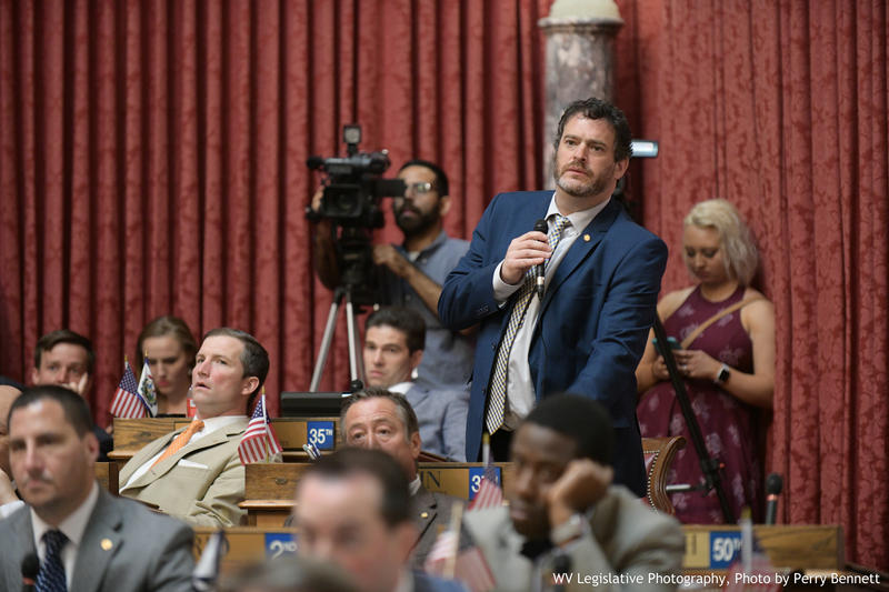 Del. Mike Pushkin, a Democrat from Kanawha County, speaks on the House floor during the Legislature's special session.