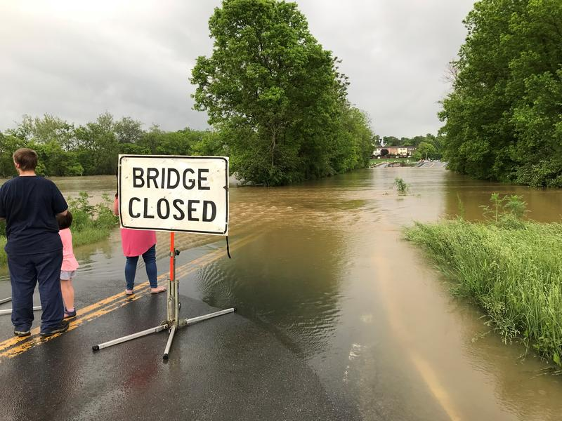The Opequon Creek that borders Berkeley and Jefferson Counties has completely flooded a bridge in Martinsburg near Grapevine Road. Photo taken on May 17, 2018 at 7:22 p.m.