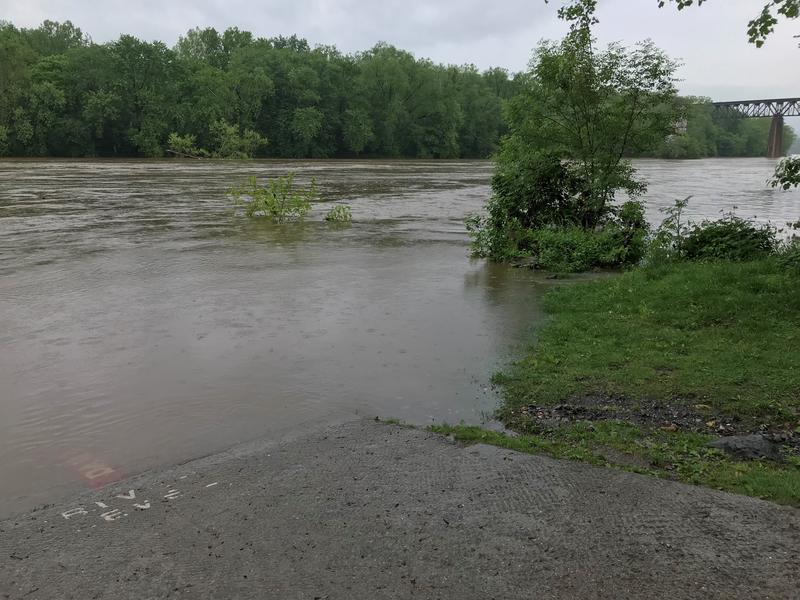 Down at the boat ramp in Shepherdstown, W.Va. along the Potomac River; expected to hit flood stage by Friday night. Photo taken on May 17, 2018 at 4:30 p.m.