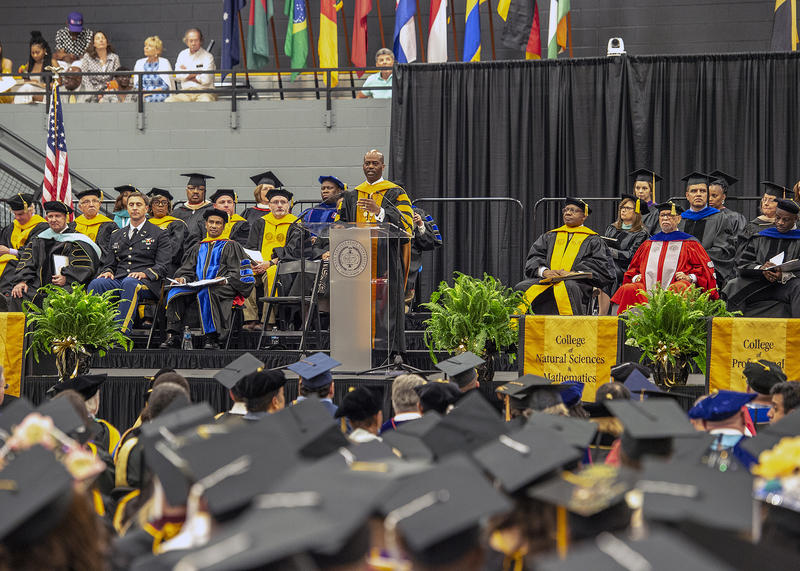 West Virginia State University President Anthony L. Jenkins speaking at the May 2018 Graduation.