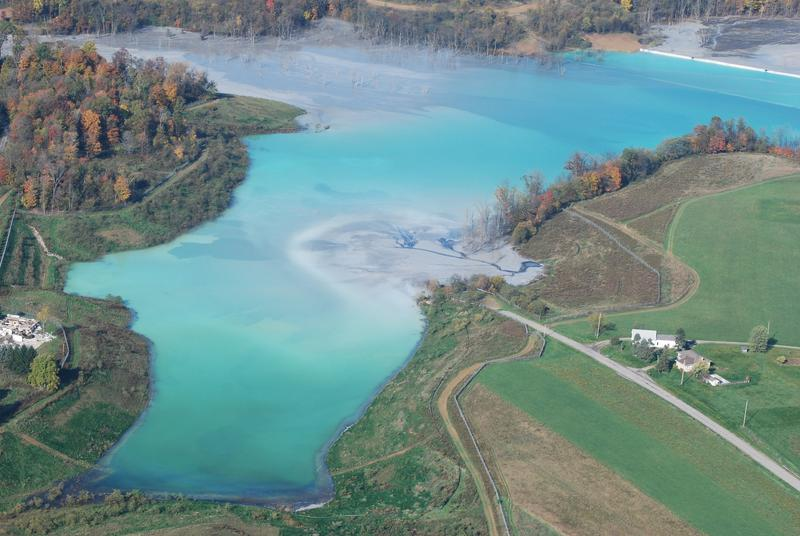 A 2011 aerial photo of Little Blue Run, the largest coal ash waste site in the country.