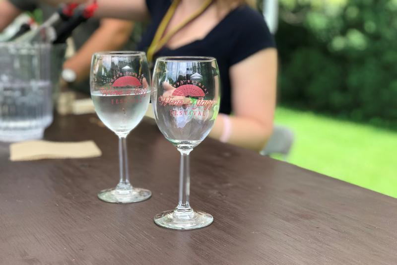 Glasses given to attendees of the Happy Retreat Wine & Jazz Festival on June 9, 2018.