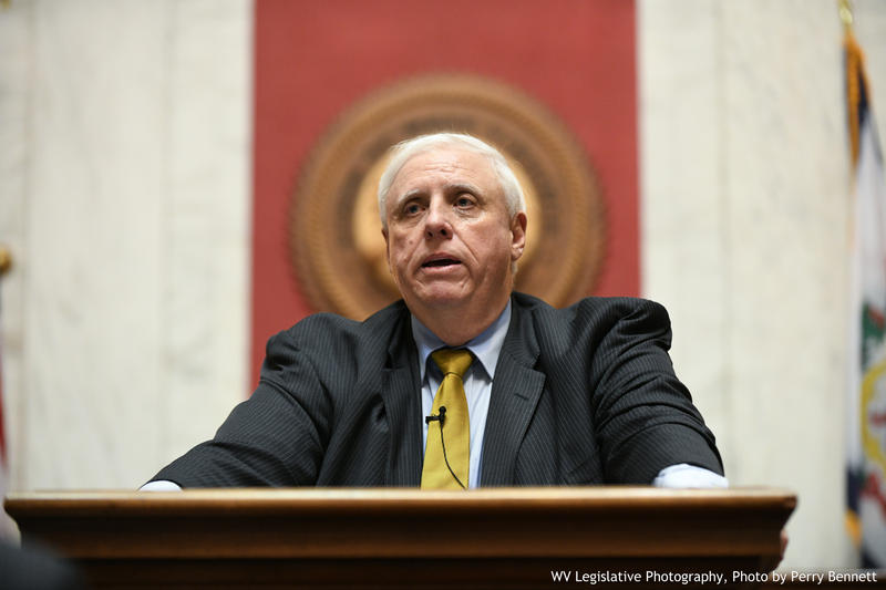 Gov. Jim Justice during the State of the State Address in January 2018.