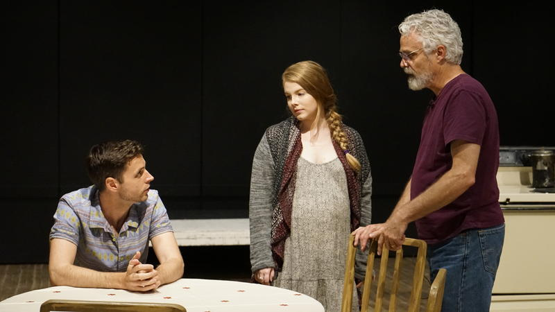 At the basement theater of West Virginia University's Creative Arts Center in Morgantown, actors Matt Webster, Sadie Belle Freeman, and director Jerry McGonigle rehearse of A Hatful of Rain.