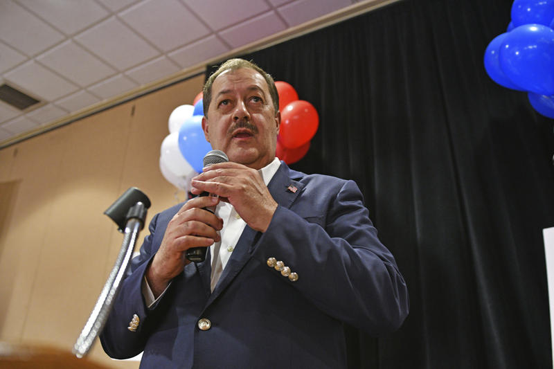In this May 8, 2018 photo, former Massey Energy CEO Don Blankenship speaks to supporters in Charleston, W.Va. Despite having lost the Republican primary, convicted Blankenship said he's going to continue his bid for U.S. Senate as a third-party candidate.