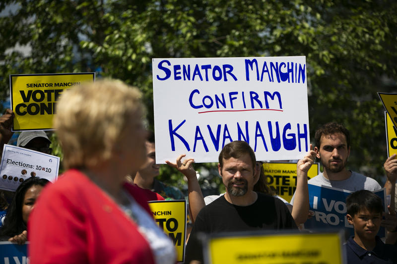 Pro-life advocates rally to ask Manchin to support President Trump's nomination for Supreme Court Justice.