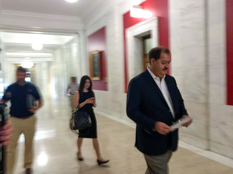 Don Blankenship walks into the Secretary of State's office on Tuesday, July 24, 2018.