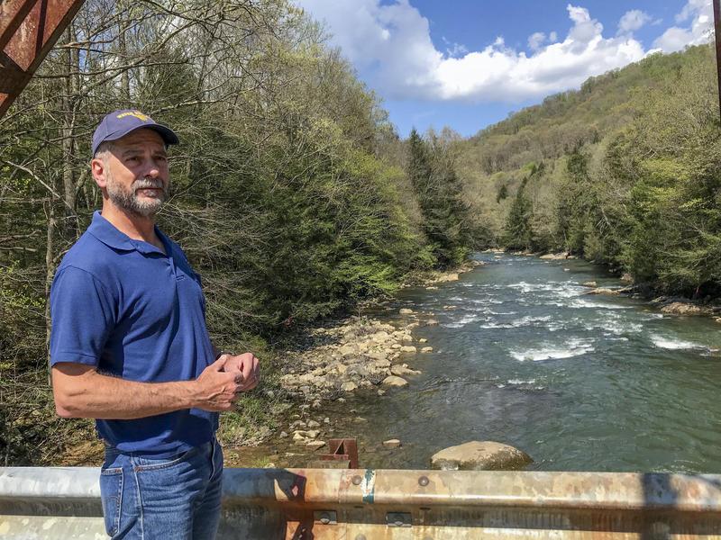 Paul Ziemkiewicz, director of West Virginia University's Water Research Institute, on a bridge overlooking Big Sandy Creek.