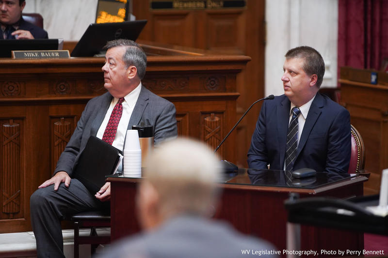 Former Supreme Court IT employee Scott Harvey (right) gives testimony on Friday, July 13, 2018 on the possible impeachment of one or more West Virgnia Supreme Court Justices.