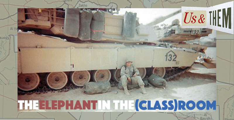 Dave Carrell sits beside his 19-kilo tank while on tour in Iraq