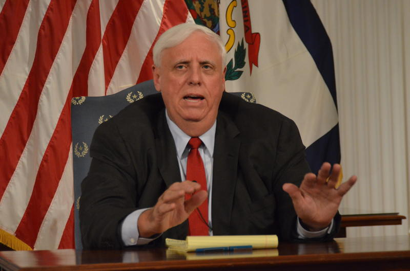 Gov. Jim Justice speaks at a news conference on Monday, Aug. 6, 2018.