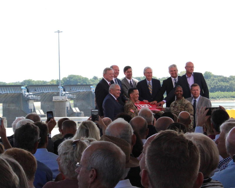 Sen. Mitch McConnell, center, with other dignitaries dedicate the Olmsted project.