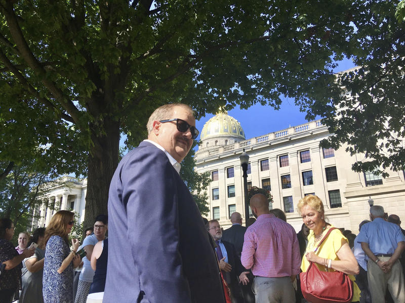 Former coal executive Don Blankenship waits outside the West Virginia Capitol on Wednesday, Aug. 29, 2018, after the Capitol was evacuated due to a fire alarm in Charleston, W.Va. The alarm interrupted Blankenship's hearing in the state Supreme Court.