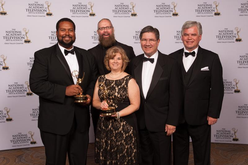 "Representing WVPB and ""Abracadabra"" production team, left to right, John Hale, VFX artist; Marilea Butcher, producer. James Caplinger, actor, ""Salty the Pirate;"" James Nemitz, actor, ""Professor Science,"" and Jeff Kerscher, composer."
