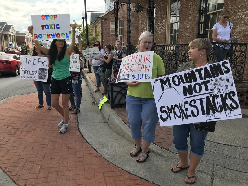 Protesters in downtown Charles Town, W.Va. on Aug. 2, 2018.