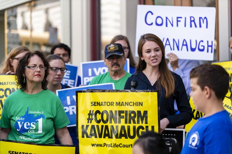 Anti-abortion protestors outside of Senator Joe Manchin's Office in Fairmont