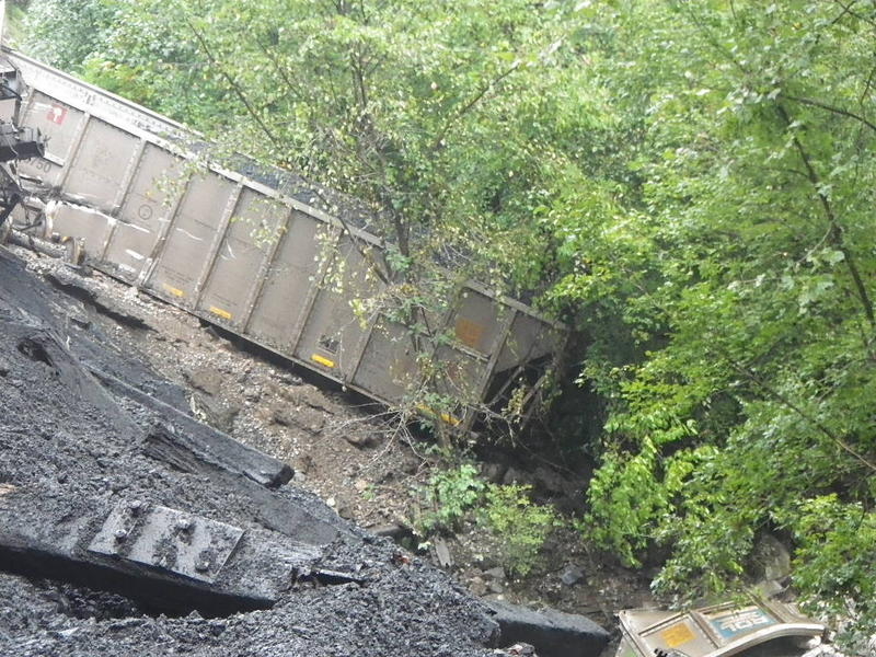 Derailed coal car on Sunday, Sept. 9, 2018.