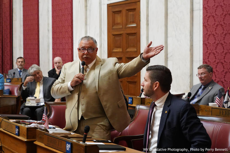 Del. Mike Caputo speaks on the House floor on Aug. 13, 2018 as the chamber votes on proposed articles of impeachment. Those articles named all four remaining justices of the West Virginia Supreme Court. Former Justice Menis Ketchum had resigned by then.