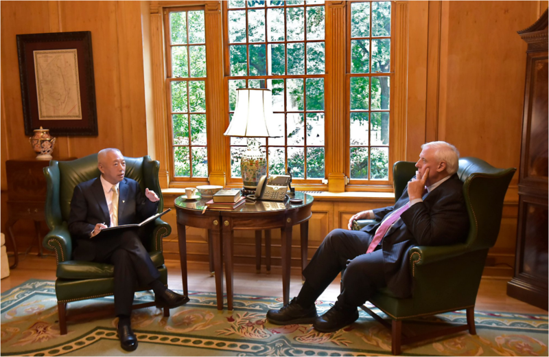 Gov. Jim Justice (right) meets with the CEO of China Energy at the Governor's Mansion on Sept. 10, 2018.