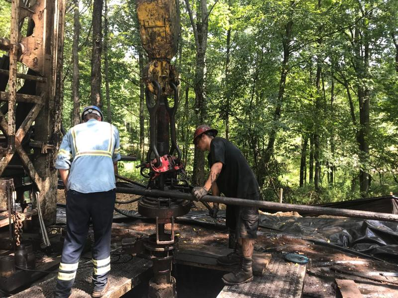 A crew plugs an abandoned well in Ohio.