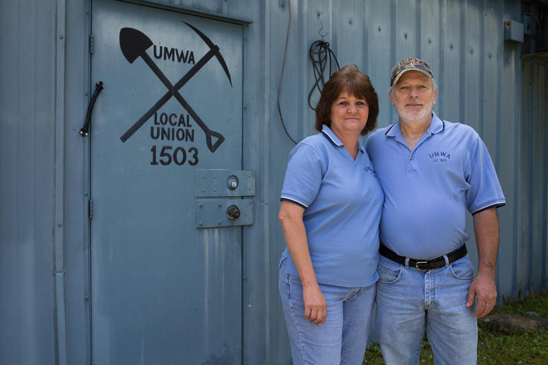Teresa and Jennings Harrison stand outside of the Local Union 1503 building in Boone County. Jennings Harrison worked in a coal mine for 36 years