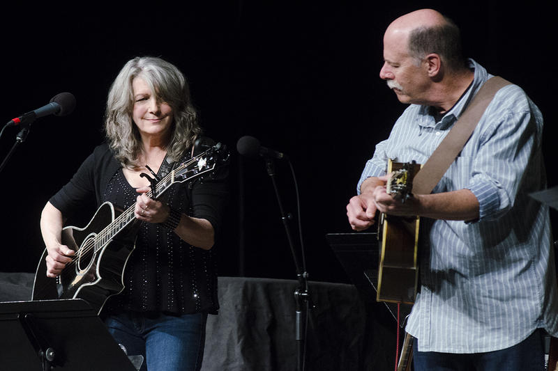 Kathy Mattea and longtime accompanist Bill Cooley performing on Mountain Stage in Elkins, W.Va.