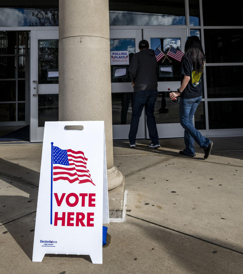 Voters enter the polling place at Morgantown High School on Nov. 6, 2018, in the South Park neighborhood of Morgantown, W.Va.