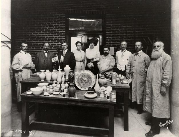 Frederick Hurten Rhead (at far left) and others at the Art Academy of People's University (now the Lewis Center) in University City, Missouri, celebrating its first high-firing kiln in April 1910.