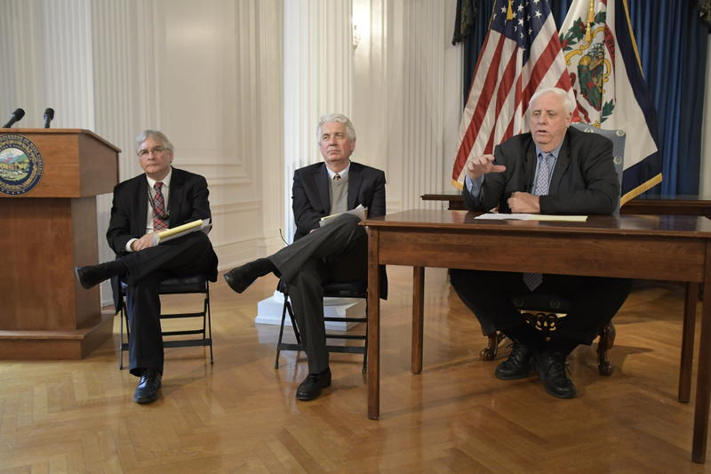 Gov. Jim Justice speaks about Decemeber revenue collections at a press conference Jan. 8, 2019.