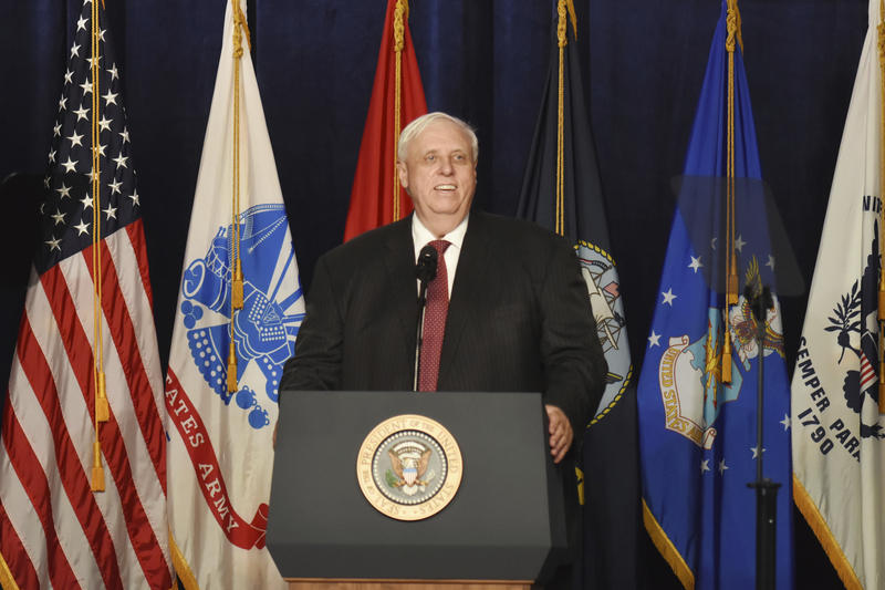West Virginia Gov. Jim Justice speaks at a Salute to Service charity dinner in conjunction with the PGA Tour's Greenbrier Classic at The Greenbrier in White Sulphur Springs, W.Va., Tuesday, July 3, 2018.