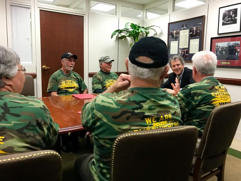 UMWA retirees talk pension protection with Sen. Sherrod Brown (D-OH).