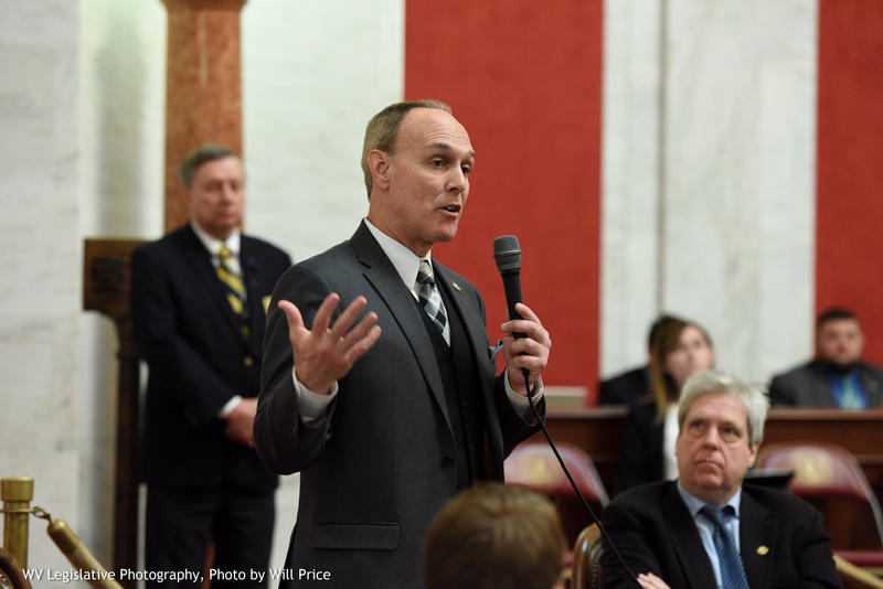 Senate President Mitch Carmichael speaks on the floor on Tuesday, Jan. 22, 2019 to oppose an amendment to a bill that would create a grant program for community and technical college students.