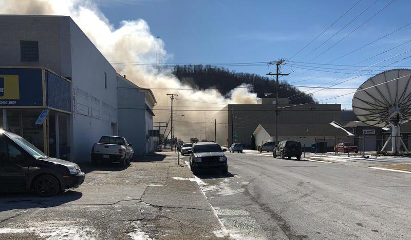 Smoke billows from the Ziegenfelder Frozen Treat Co. plant Jan. 31, 2019, in Wheeling, W.Va..