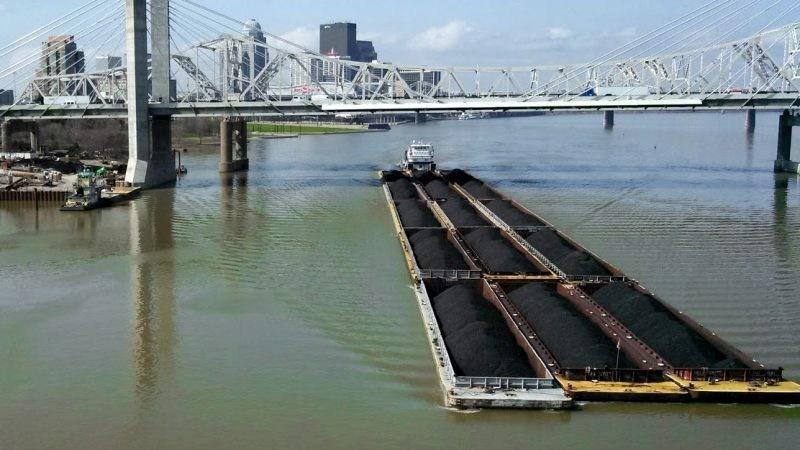 A coal barge on the Ohio River in Louisville.