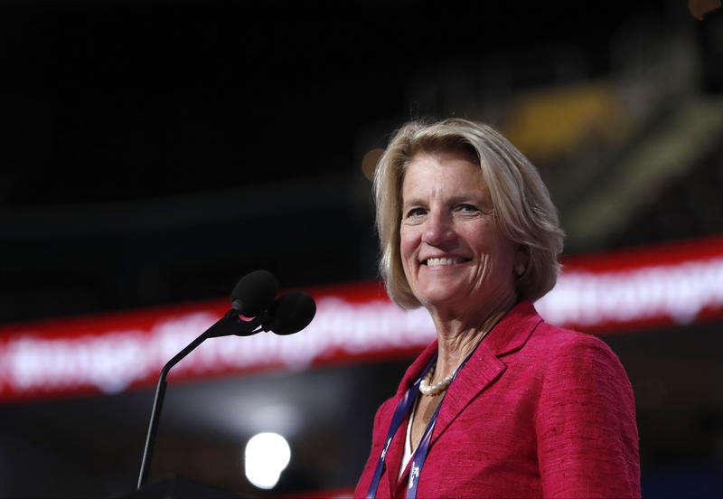 Sen. Shelley Moore Capito, R-W.Va., checks out the stage before the opening session of the Republican National Convention in Cleveland, Monday, July 18, 2016.