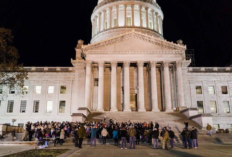 Teachers and supporters gather on the steps of the Capitol Wednesday, Feb.13, 2019, to oppose the education omnibus bill.