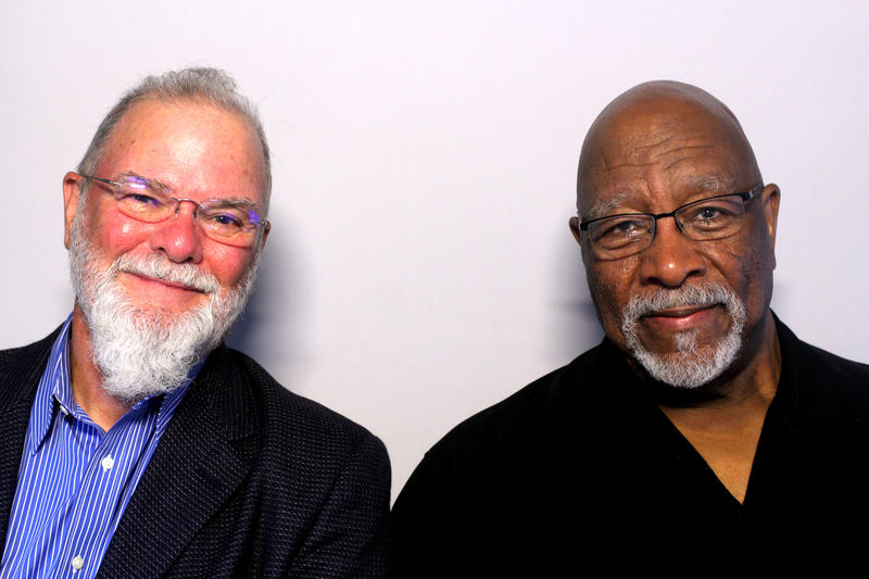 Larry Groce and Bob Thompson in the StoryCorps booth talking about Bob's move to the Mountain State.