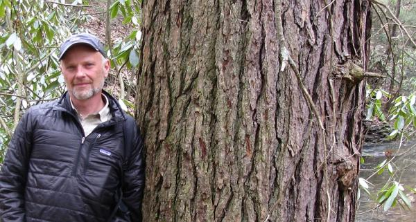 Rodney Bartis, Director of the WV Nature Conservancy, stands next to a 500 year old hemlock in 2013