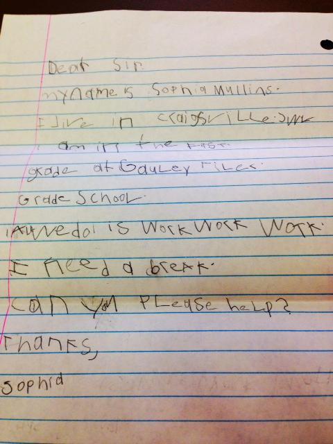 Letter from Sophia Mullins to U.S. Senator Joe Manchin.