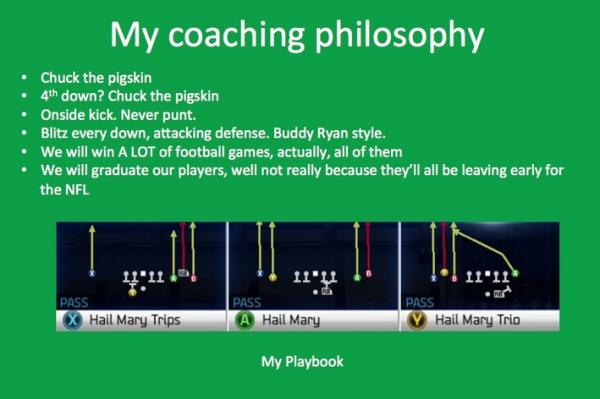 Marshall University graduate and systems integration analyst Chris McComas sent the University of North Dakota a Powerpoint presentation to outline his coaching philosophy.